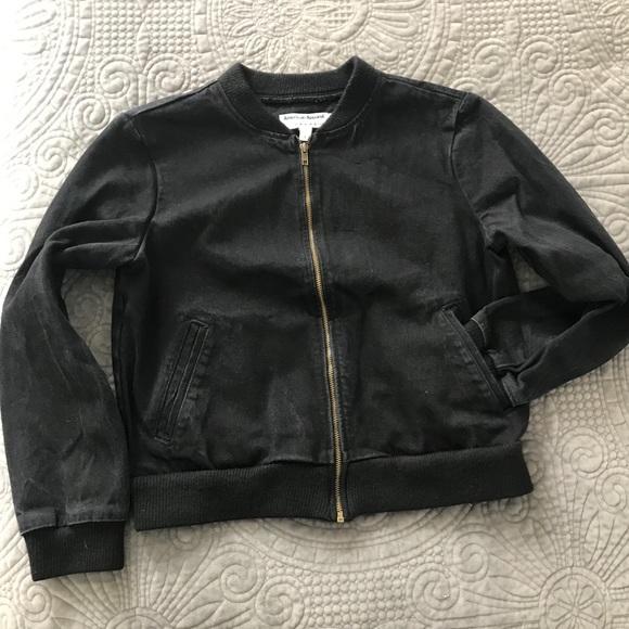 NWOT - American Apparel Black Denim Bomber Jacket